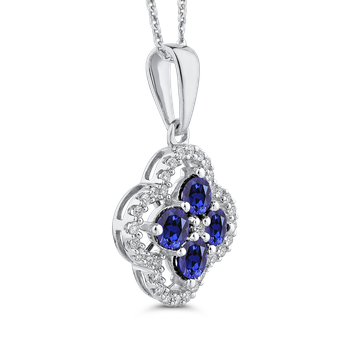 Round 1/5 ct Diamond & 1 1/5 ct Blue Sapphire Fashion Pendant with Chain