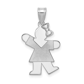 14k White Gold Small Girl w/Bow on Right Engravable Charm