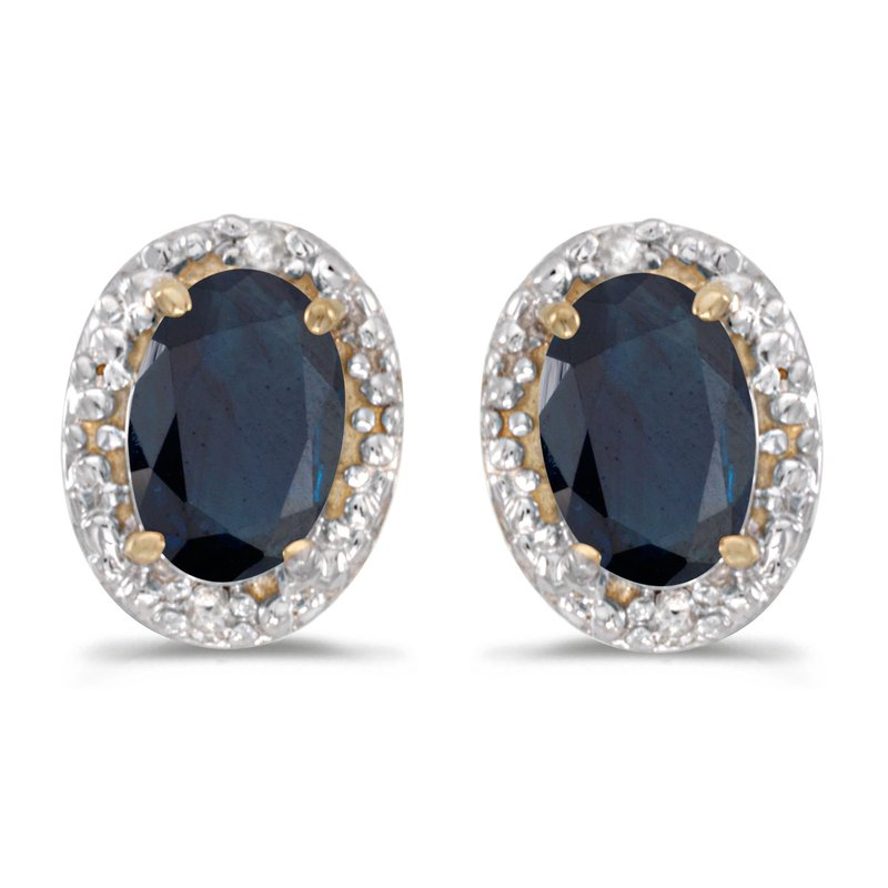 Color Merchants 10k Yellow Gold Oval Sapphire And Diamond Earrings