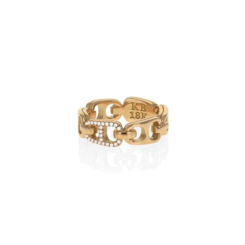 King Baby Small 18K Pop Top Infinity Band With Pave Diamonds