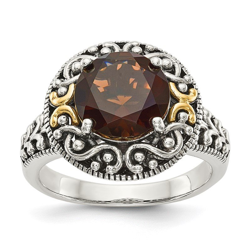 J.F. Kruse Signature Collection Sterling Silver w/14k Smoky Quartz Ring