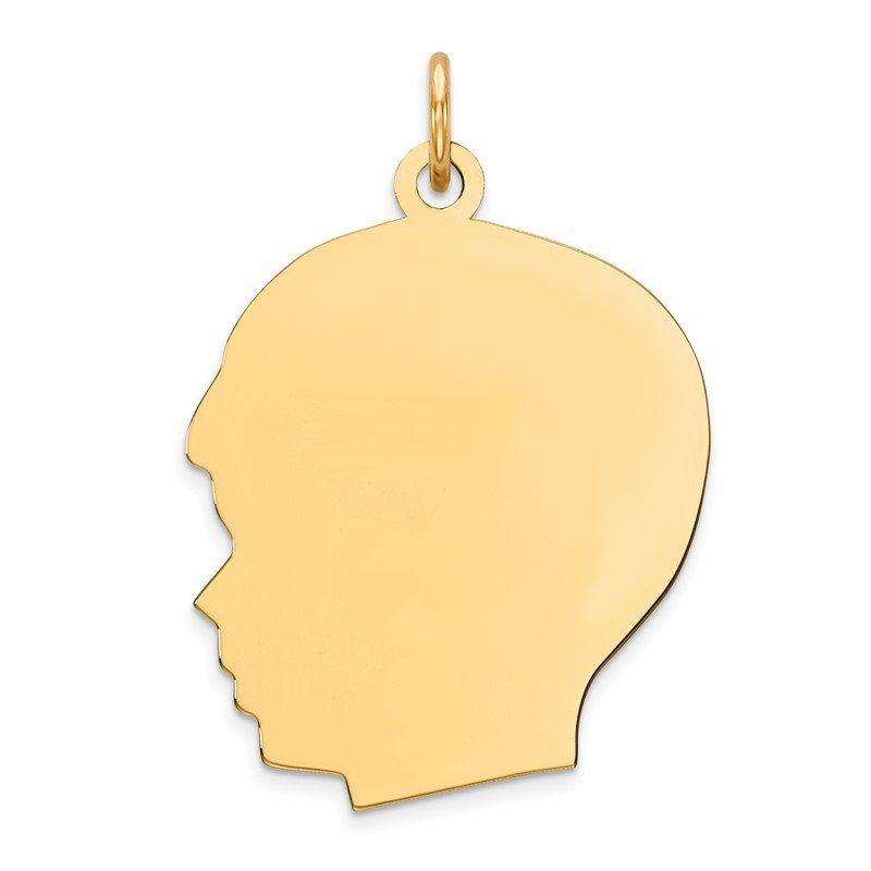 Quality Gold Sterling Silver GP Engraveable Boy Polished Disc Charm