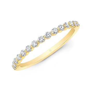 Yellow Gold Shared Single Prong Wedding Band