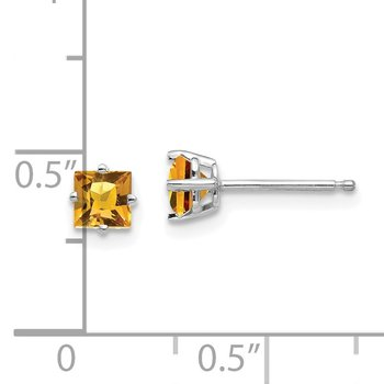 14k White Gold 4mm Princess Cut Citrine Earrings