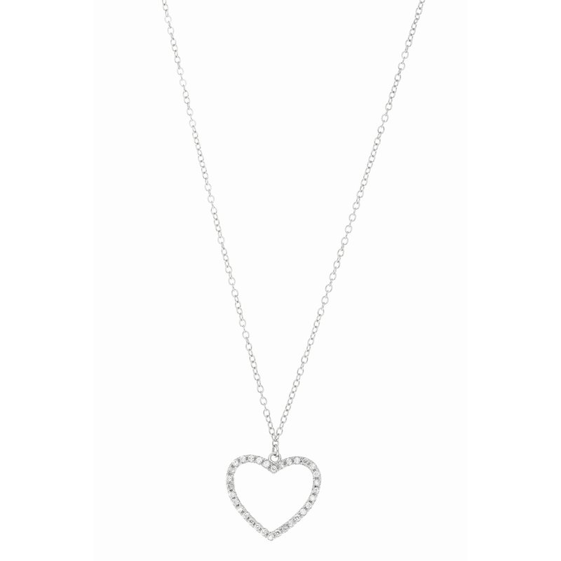 Royal Chain Silver CZ Open Heart Necklace