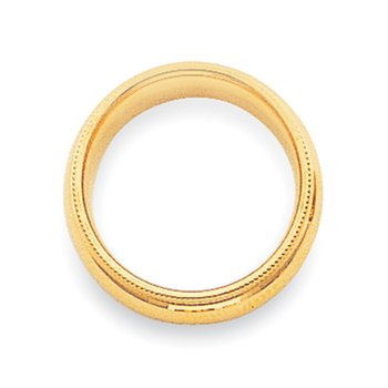 14k 4mm Milgrain Comfort Wedding Band