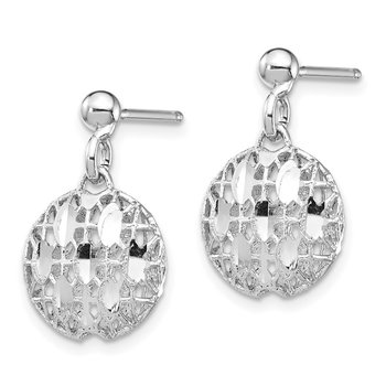 Sterling Silver Rhodium-plated D/C Mesh Bead Dangle Post Earrings