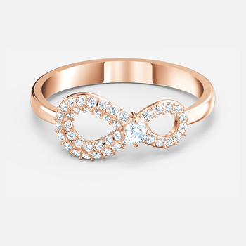 Swarovski Infinity Ring, White, Rose-gold tone plated