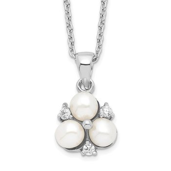 Sterling Silver Rh-plated 5-6mm White FW Cultured 3-Pearl CZ Necklace