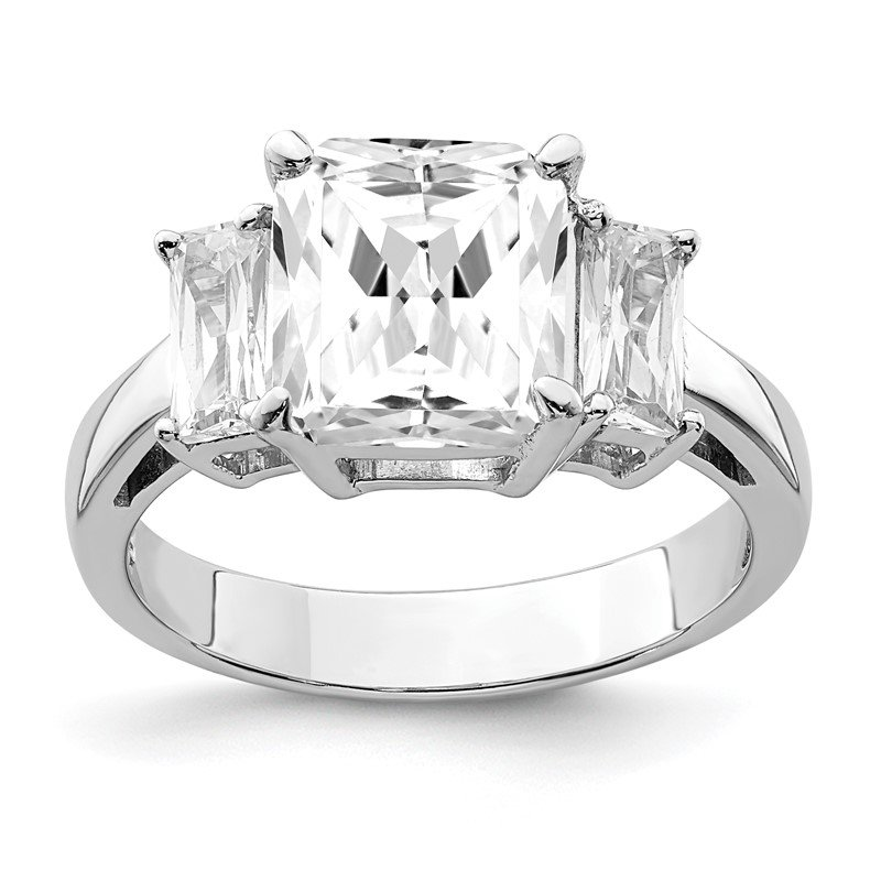 Quality Gold Sterling Silver Rhodium-plated Emerald-cut CZ 3-stone Ring