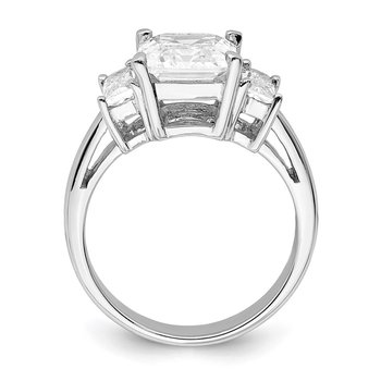 Sterling Silver Rhodium-plated Emerald-cut CZ 3-stone Ring