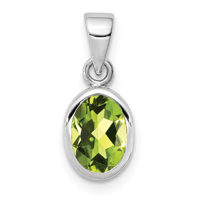 Lester Martin Online Collection Sterling Silver Rhodium-plated Polished Peridot Oval Pendant