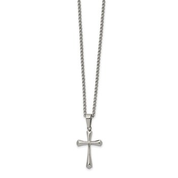 Stainless Steel Polished Cross 22in Necklace