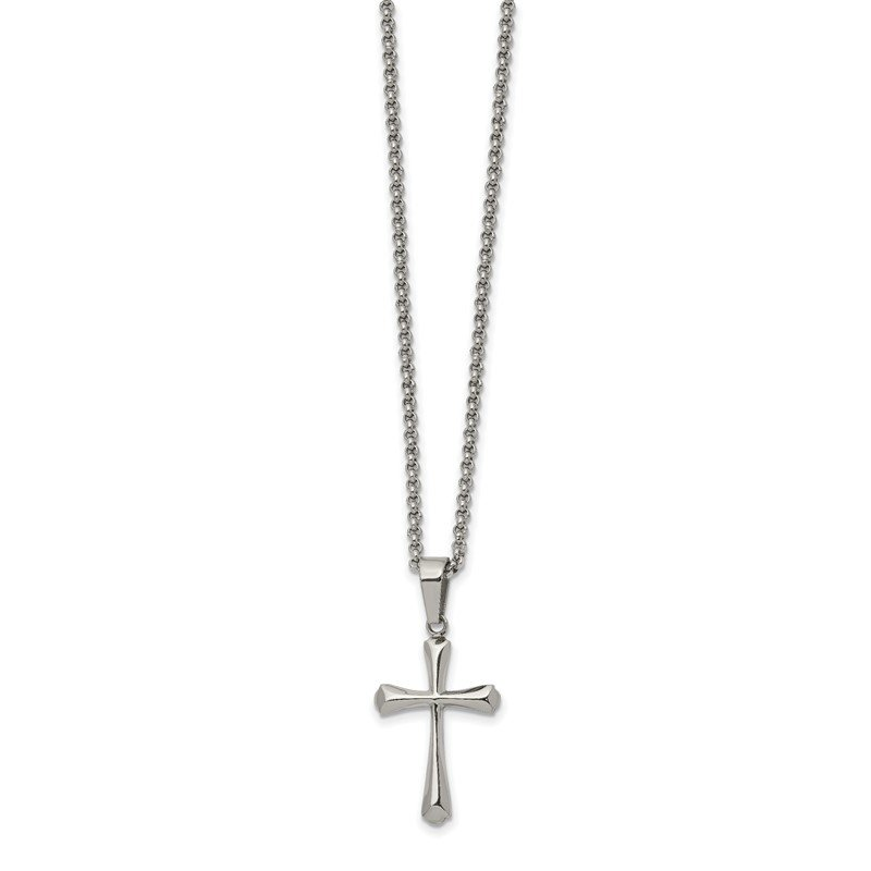 Chisel Stainless Steel Polished Cross 22in Necklace