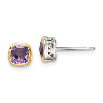 Sterling Silver w/ 14K Accent Amethyst Square Stud Earrings