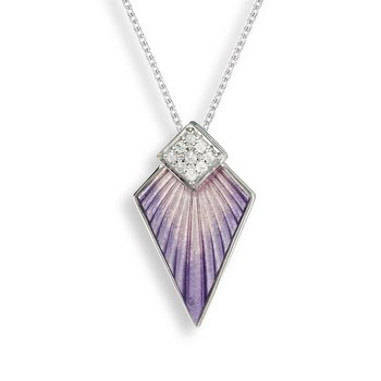 Purple Art Deco Necklace.Sterling Silver-White Sapphire