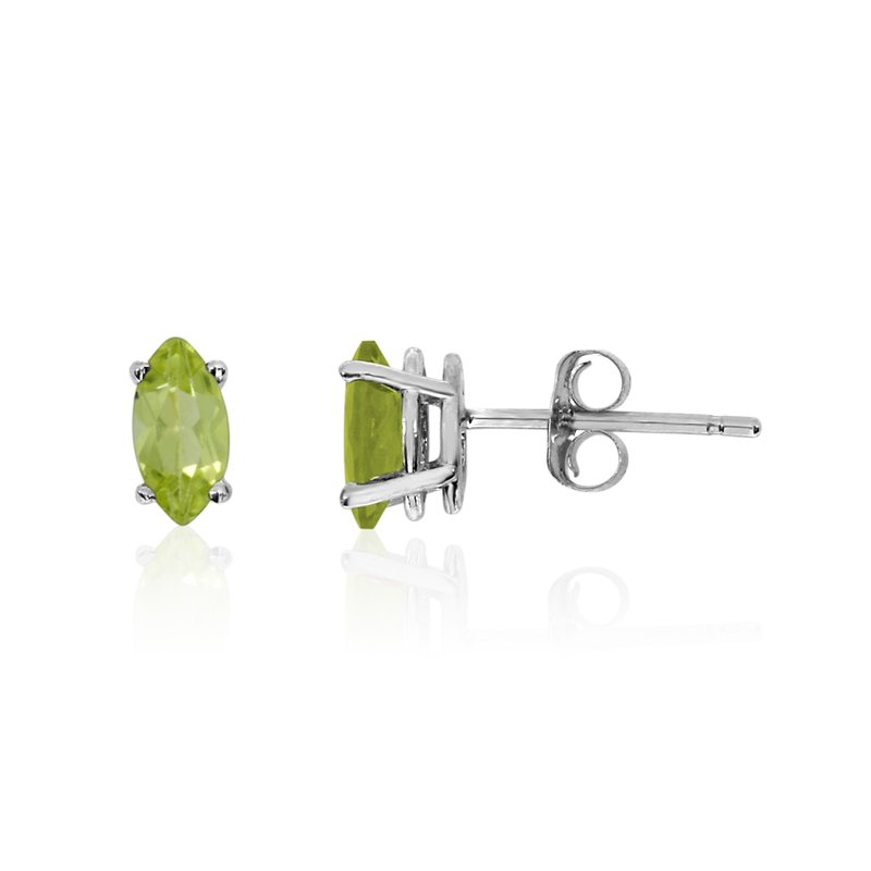 Color Merchants 14k White Gold Peridot Marquise Earrings