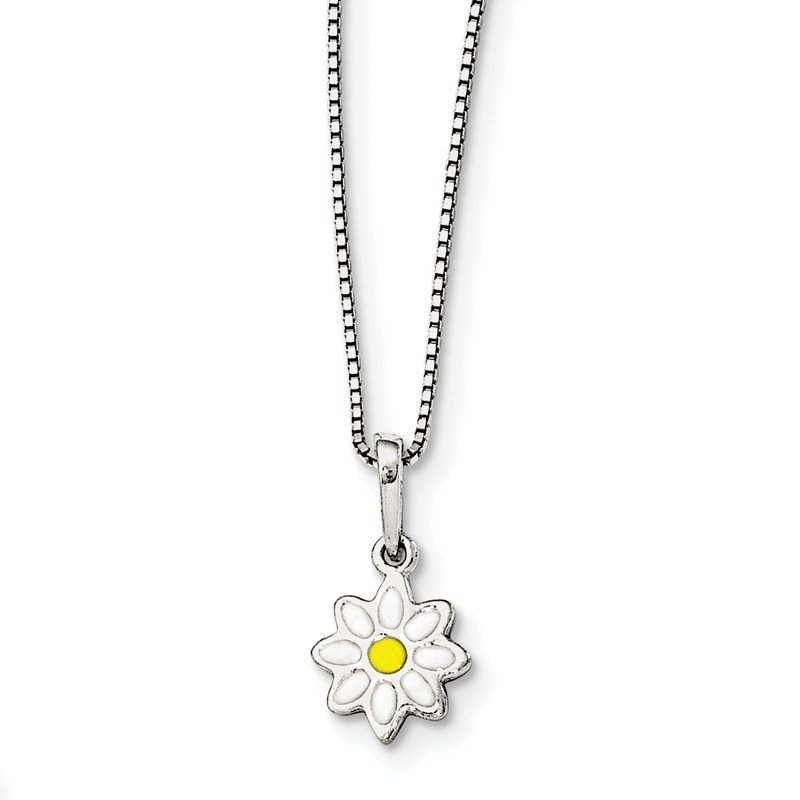Quality Gold Sterling Silver Enamel Flower 15in Necklace
