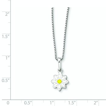 Sterling Silver Enamel Flower 15in Necklace