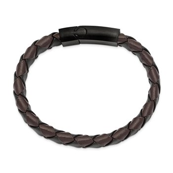 Stainless Steel Brushed Black IP Black/Brown Leather 8.25in Bracelet