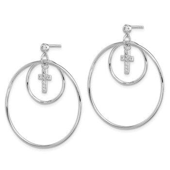 Sterling Silver Rhodium-plated Double Hoop w/CZ Cross Post Earrings