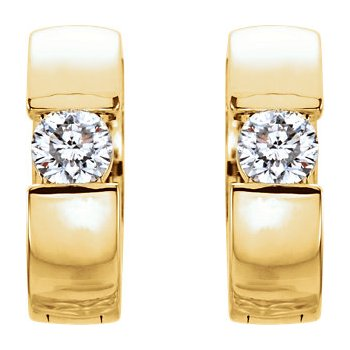 14K Yellow 1/5 CTW Diamond Hinged Hoop Earrings