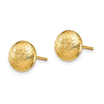 14K Scratch Finish Hollow Post Earrings