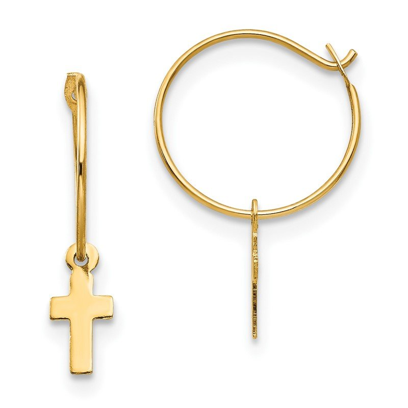 Quality Gold 14k Madi K Endless Hoop w/Small Cross Earrings