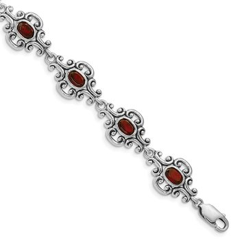 Sterling Silver Rhodium Plated Antiqued Garnet Bracelet