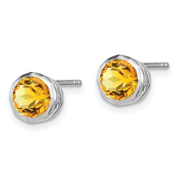 Sterling Silver Rhodium-plated Citrine Circle Stud Earrings