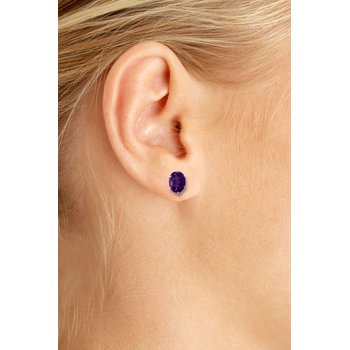 Sterling Silver Oval Amethyst Stud Earrings