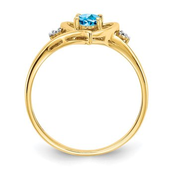 14k Blue Topaz and Diamond Heart Ring