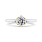 18K Two-Tone Gold Round Diamond Solitaire Plus Engagement Ring (Semi-Mount)