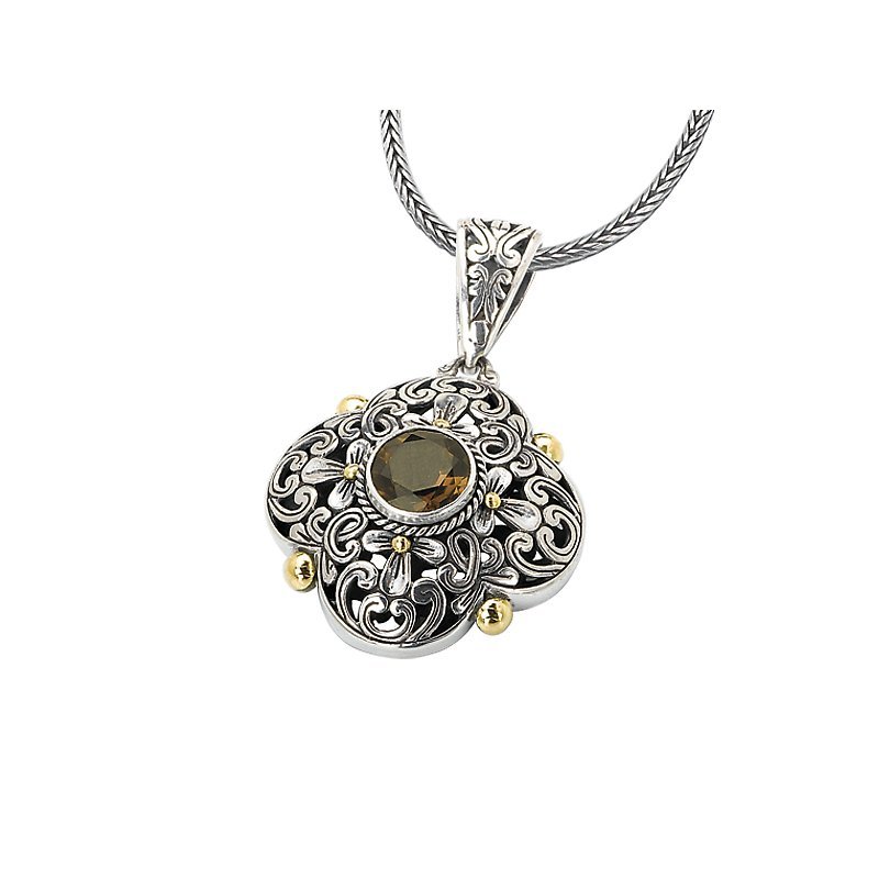 Eleganza 18kt Gold and Silver Smoky Quartz Pendant