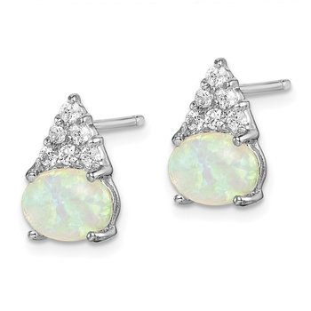 Sterling Silver Rhodium-plated Created Opal and CZ Earrings