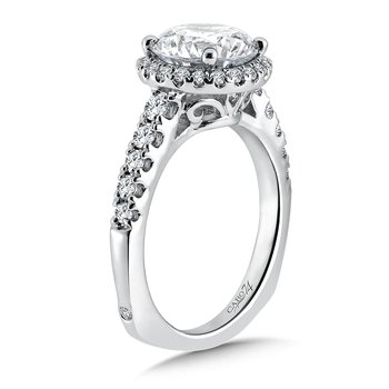 Grand Opulance Halo Engagement Ring in 14k White Gold