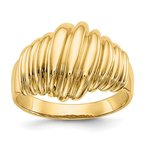 Quality Gold 14k Polished Scalloped Dome Ring