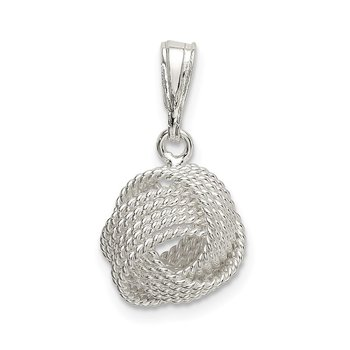 Sterling Silver Textured Love Knot Pendant
