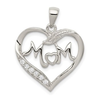Sterling Silver Rhodium-plated MOM CZ Heart Pendant