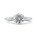 18K White Gold Round Diamond Cathedral Style Engagement Ring with Split Shank (Semi-Mount)