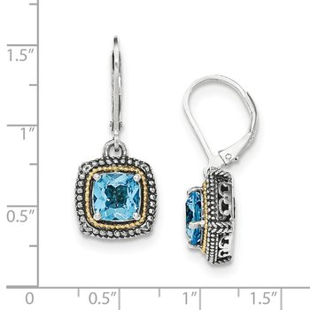 Sterling Silver w/14k Lt Swiss Blue Topaz Leverback Earrings