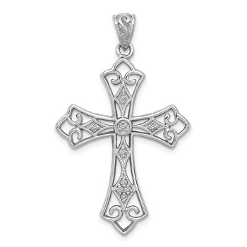 Sterling Silver Rhodium & Diam. Filigree Cross Pendant