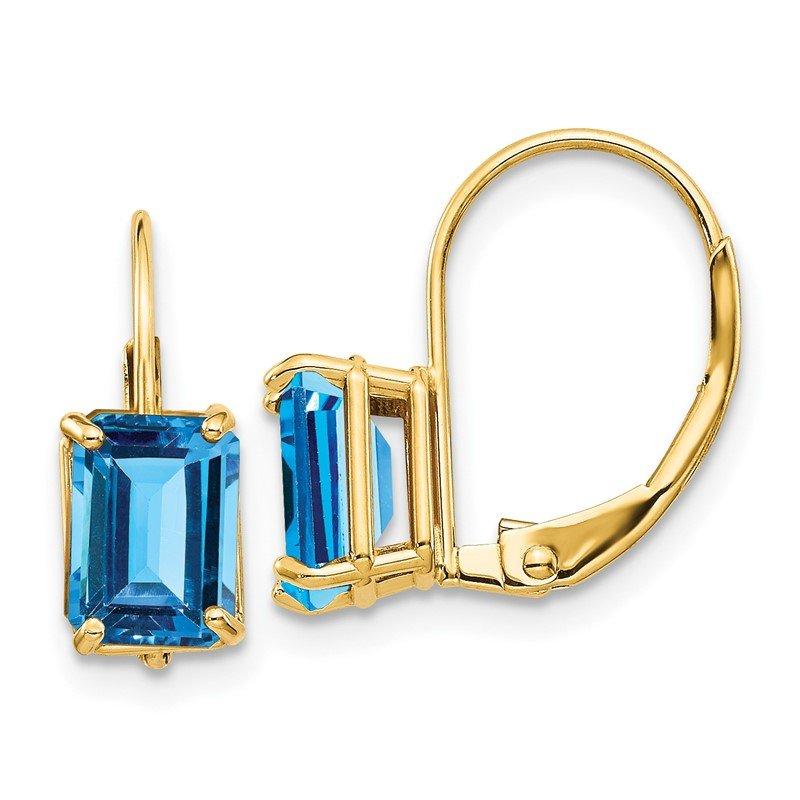 Quality Gold 14k 7x5mm Emerald Cut Blue Topaz Leverback Earrings