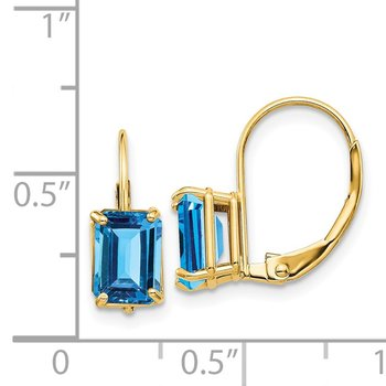 14k 7x5mm Emerald Cut Blue Topaz Leverback Earrings
