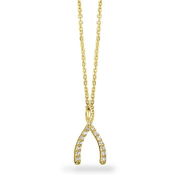 Diamond Wishbone Necklace in 14k Yellow Gold with 15 Diamonds weighing .09ct tw.