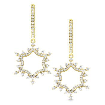 14K Gold and Diamond Snowflake Earrings
