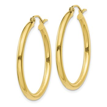 10K Polished 2.5mm Tube Hoop Earrings