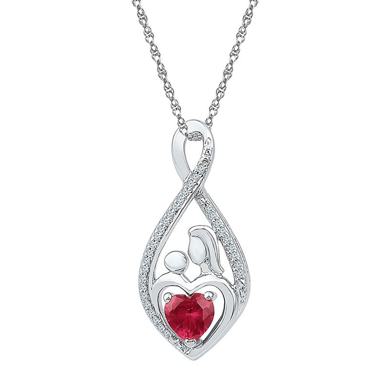 Kingdom Treasures Sterling Silver Womens Round Lab-Created Ruby Mom Mother Child Diamond Pendant 3/4 Cttw