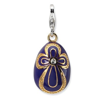 Sterling Silver Gold-plated CZ Purple Egg w/Lobster Charm