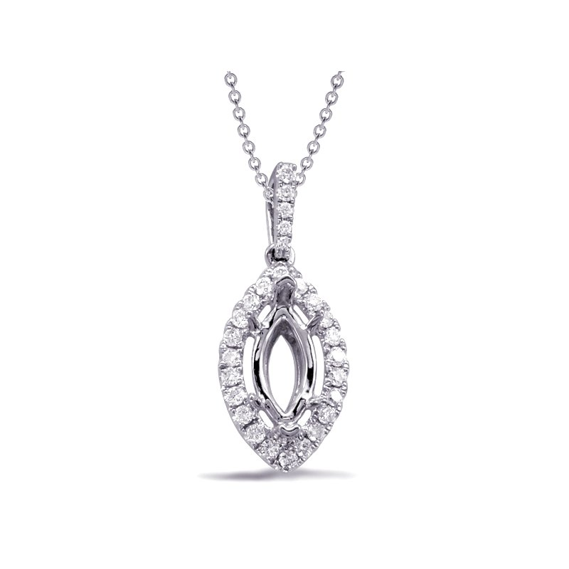 S. Kashi  & Sons Diamond Pendant For 8X4mm Marquee Center